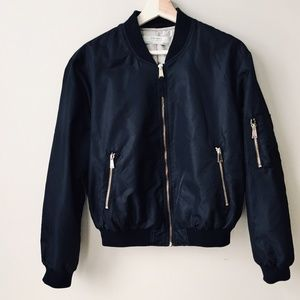 Zara Black Bomber Jacket w/Gold Hardware